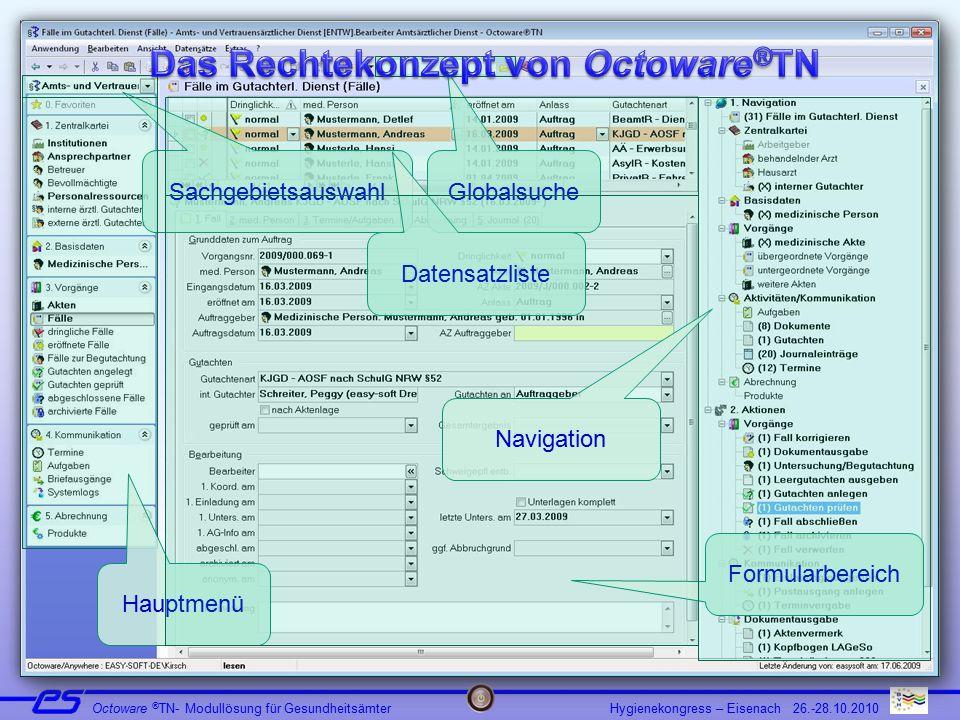 Hygienekongress – Eisenach 26.-28.10.2010 Octoware ® TN- Modullösung für Gesundheitsämter Sachgebietsauswahl Hauptmenü Globalsuche Datensatzliste Formularbereich Navigation