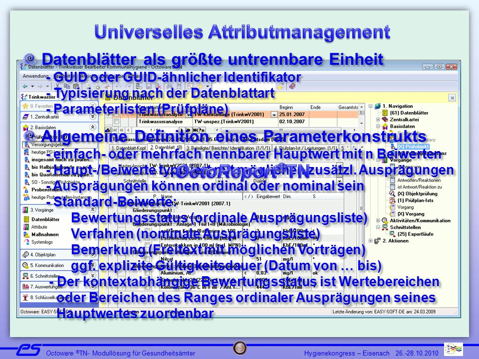 Hygienekongress – Eisenach 26.-28.10.2010 Octoware ® TN- Modullösung für Gesundheitsämter Datenblätter als größte untrennbare Einheit - GUID oder GUID