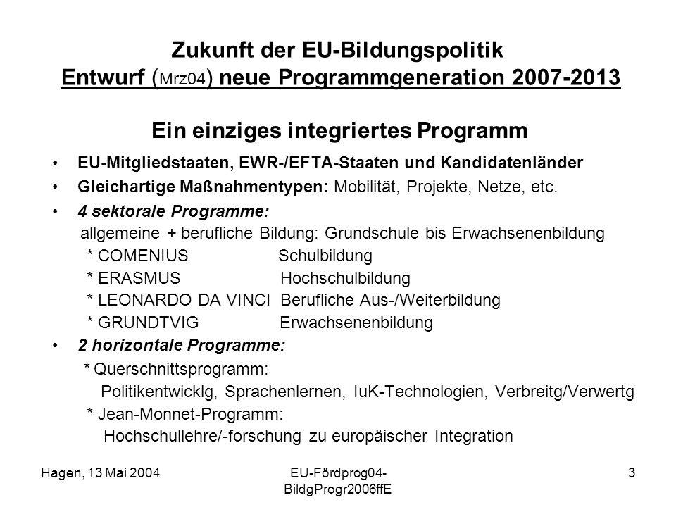 Hagen, 13 Mai 2004EU-Fördprog04- BildgProgr2006ffE 3 Zukunft der EU-Bildungspolitik Entwurf ( Mrz04 ) neue Programmgeneration 2007-2013 Ein einziges integriertes Programm EU-Mitgliedstaaten, EWR-/EFTA-Staaten und Kandidatenländer Gleichartige Maßnahmentypen: Mobilität, Projekte, Netze, etc.