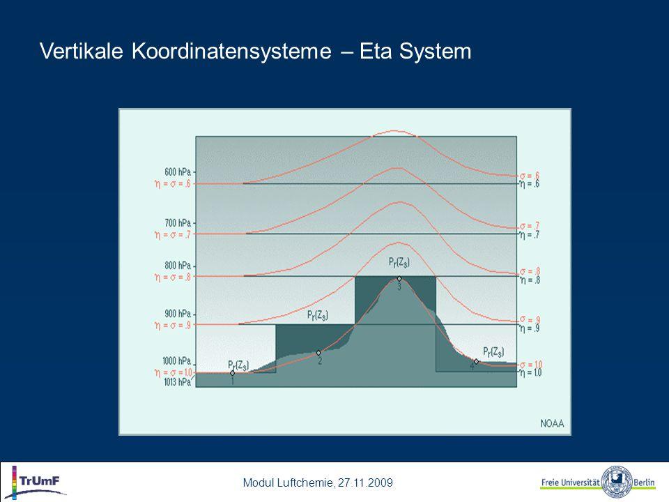 Modul Luftchemie, 27.11.2009 Vertikale Koordinatensysteme – Eta System