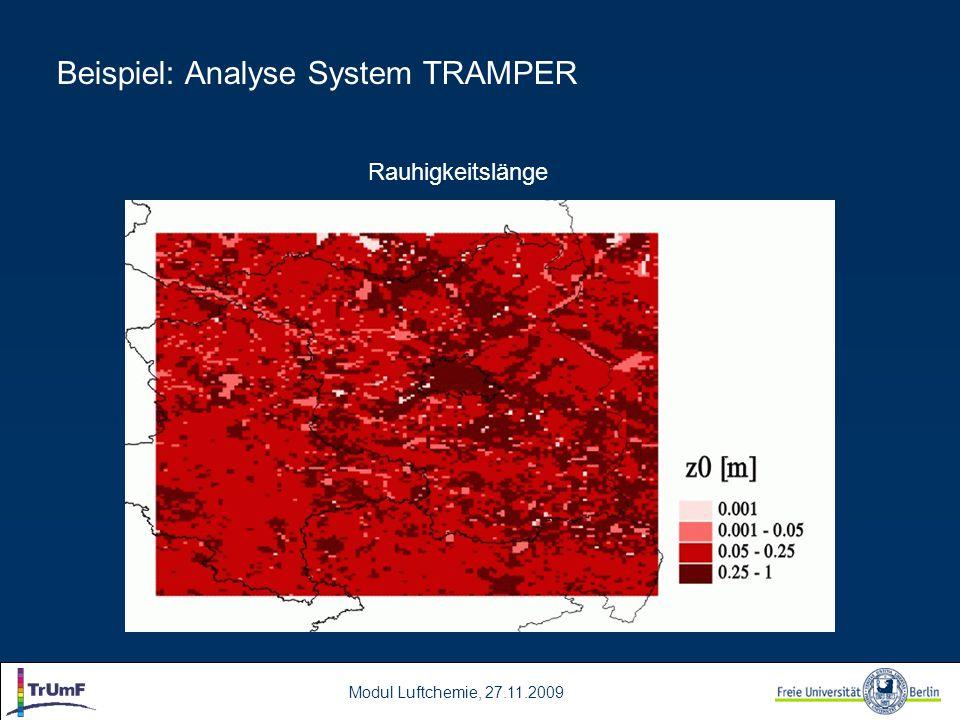 Modul Luftchemie, 27.11.2009 Rauhigkeitslänge Beispiel: Analyse System TRAMPER