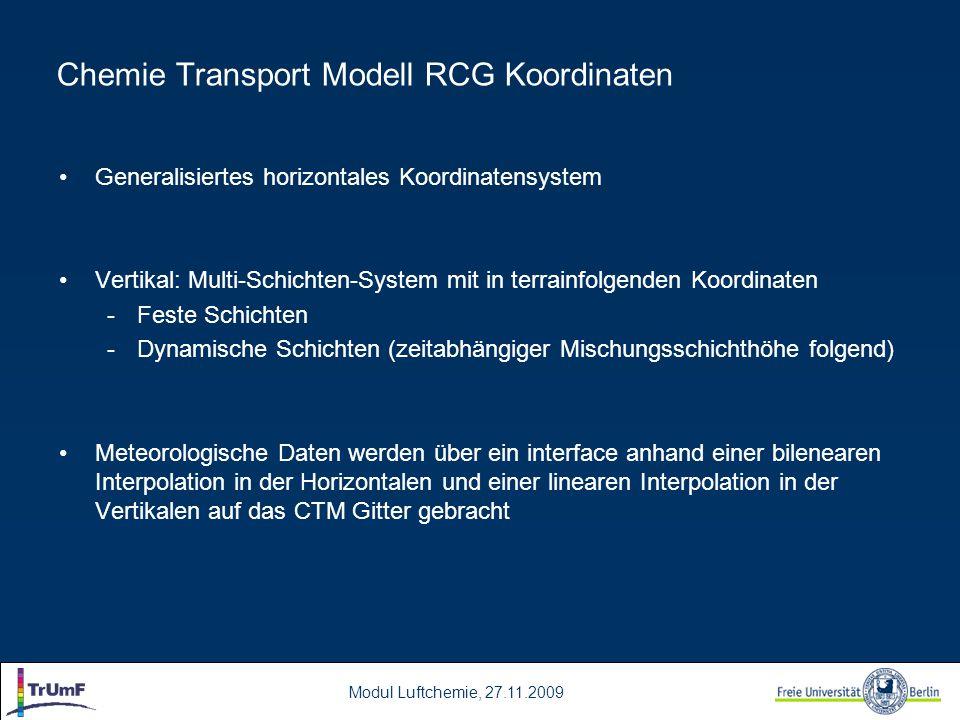 Modul Luftchemie, 27.11.2009 Generalisiertes horizontales Koordinatensystem Vertikal: Multi-Schichten-System mit in terrainfolgenden Koordinaten -Fest