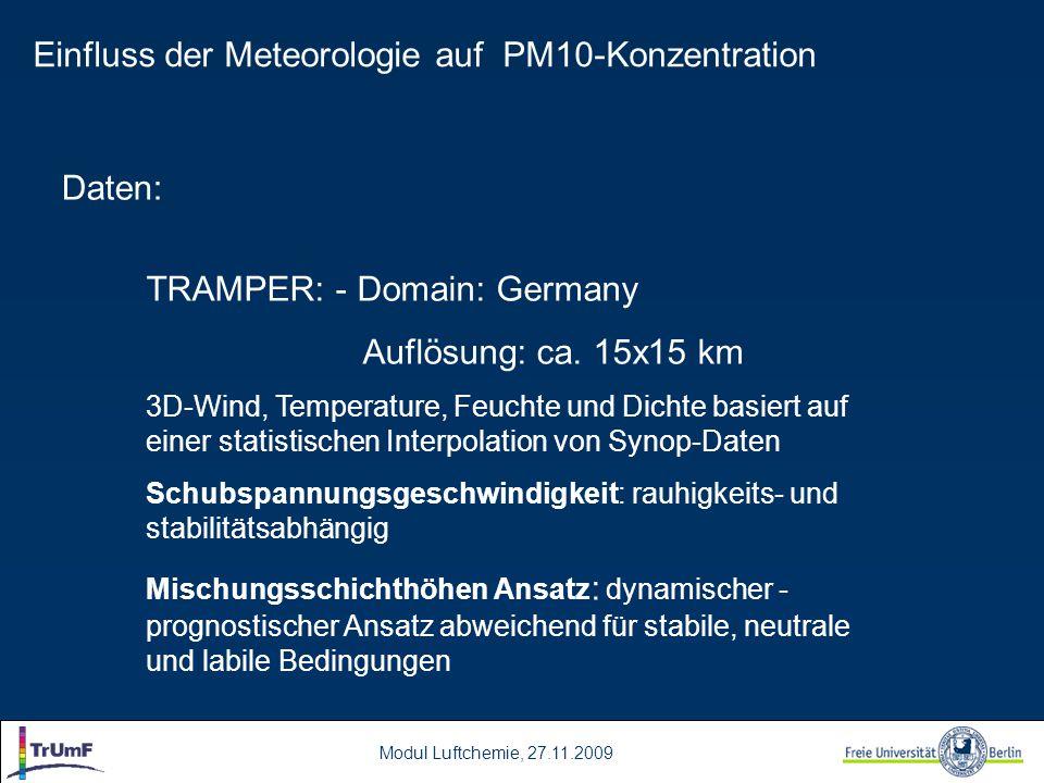Modul Luftchemie, 27.11.2009 Daten: TRAMPER: - Domain: Germany Auflösung: ca. 15x15 km 3D-Wind, Temperature, Feuchte und Dichte basiert auf einer stat
