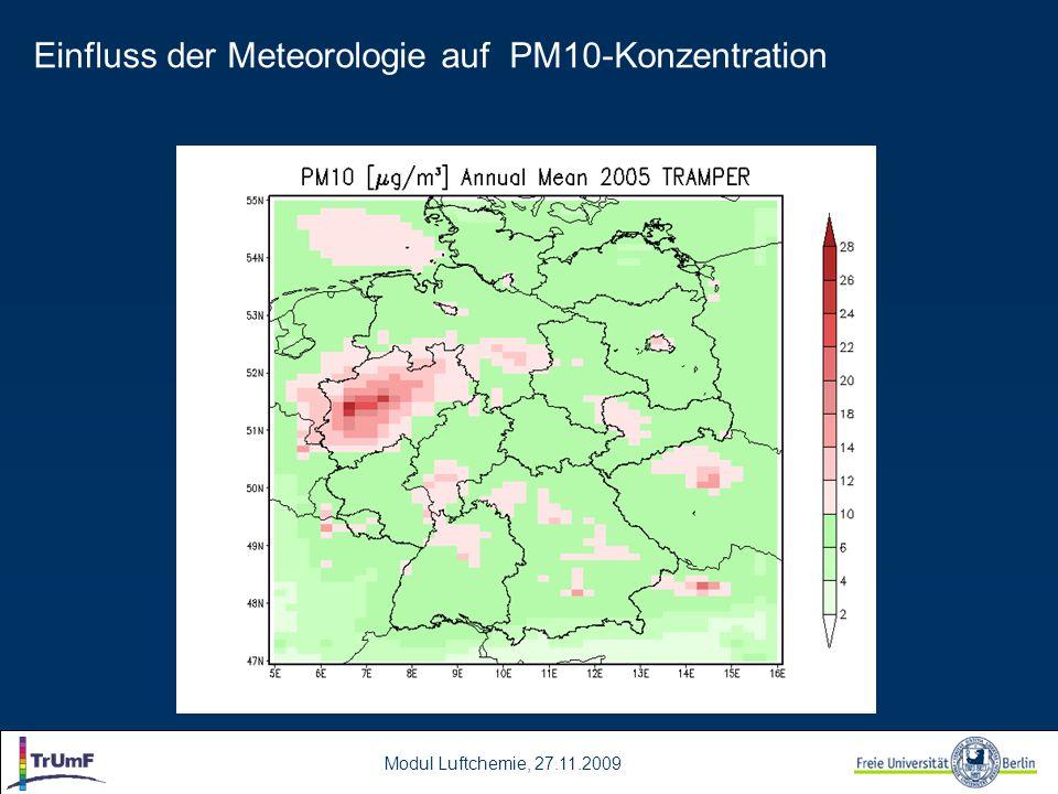 Modul Luftchemie, 27.11.2009 Einfluss der Meteorologie auf PM10-Konzentration