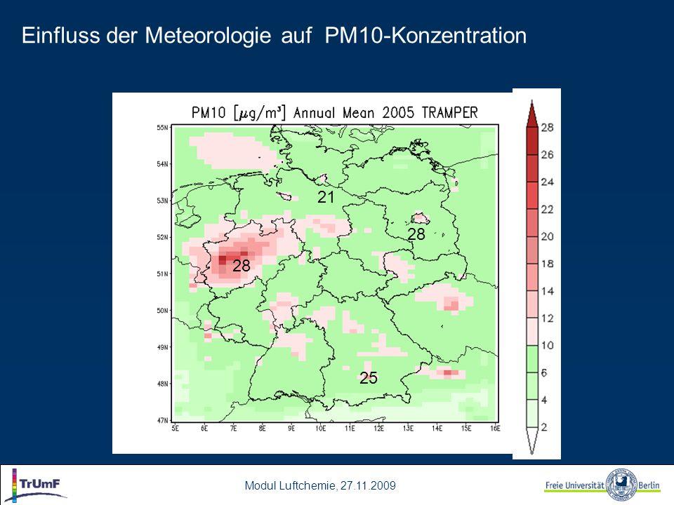 Modul Luftchemie, 27.11.2009 28 25 21 28 Einfluss der Meteorologie auf PM10-Konzentration