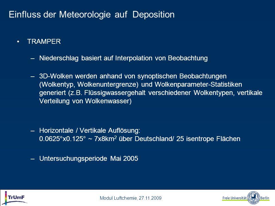 Modul Luftchemie, 27.11.2009 TRAMPER –Niederschlag basiert auf Interpolation von Beobachtung –3D-Wolken werden anhand von synoptischen Beobachtungen (