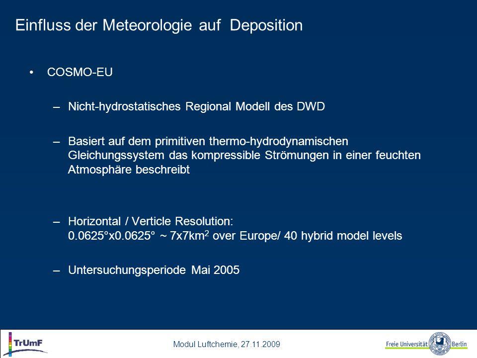 Modul Luftchemie, 27.11.2009 COSMO-EU –Nicht-hydrostatisches Regional Modell des DWD –Basiert auf dem primitiven thermo-hydrodynamischen Gleichungssys