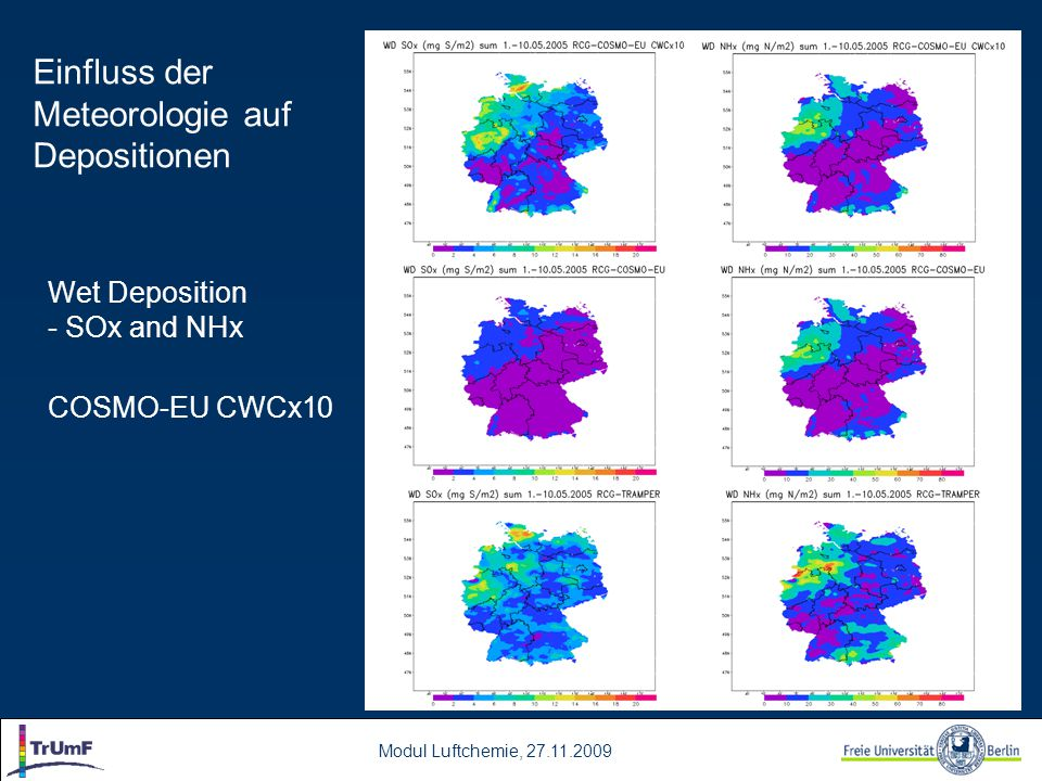 Modul Luftchemie, 27.11.2009 SOx (ug/m3) 1200m Wet Deposition – SOx, NHx Average vertical Distribution May 2005 SOx (ug/m3) 1200m NHx (ug/m3) 1200m Einfluss der Meteorologie auf Depositionen