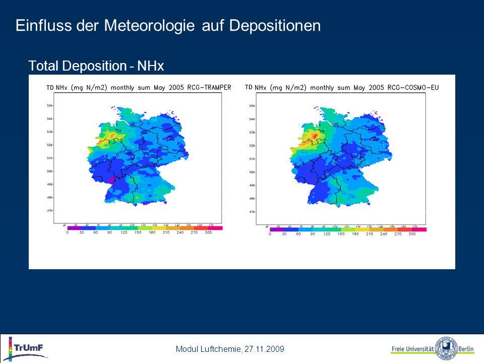 Modul Luftchemie, 27.11.2009 Total Deposition - NHx TD Einfluss der Meteorologie auf Depositionen