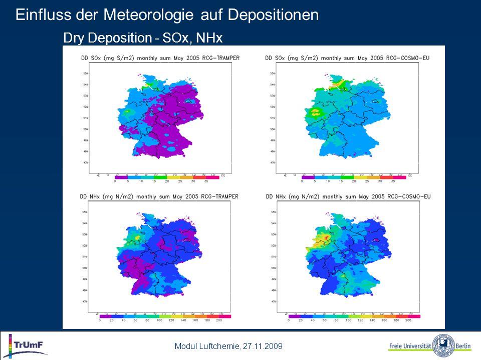 Modul Luftchemie, 27.11.2009 Dry Deposition - SOx, NHx Einfluss der Meteorologie auf Depositionen