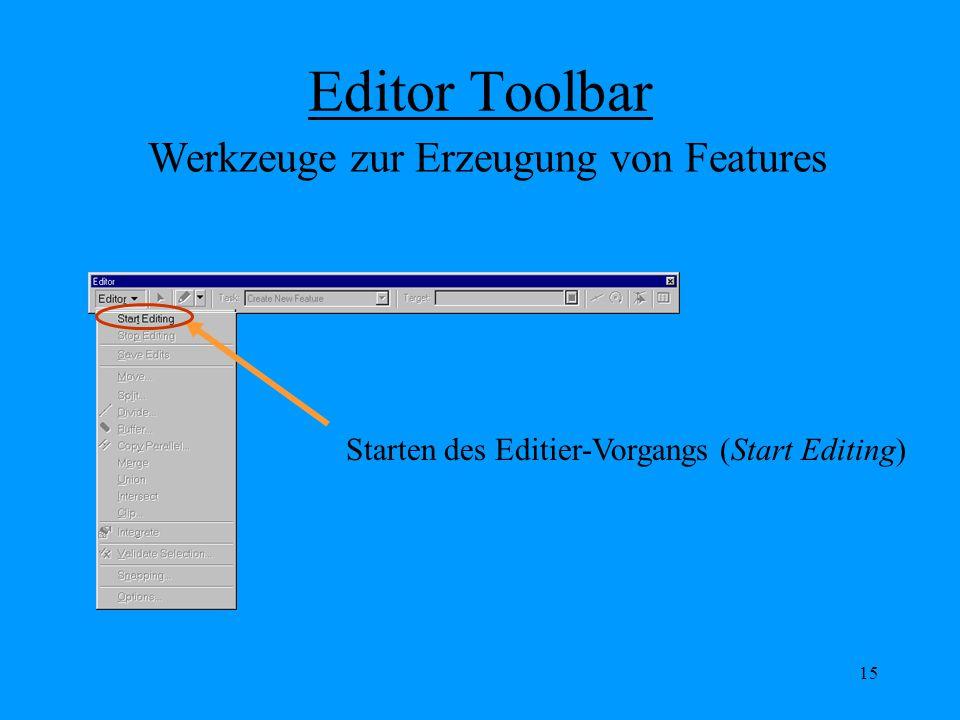 15 Editor Toolbar Starten des Editier-Vorgangs (Start Editing) Werkzeuge zur Erzeugung von Features