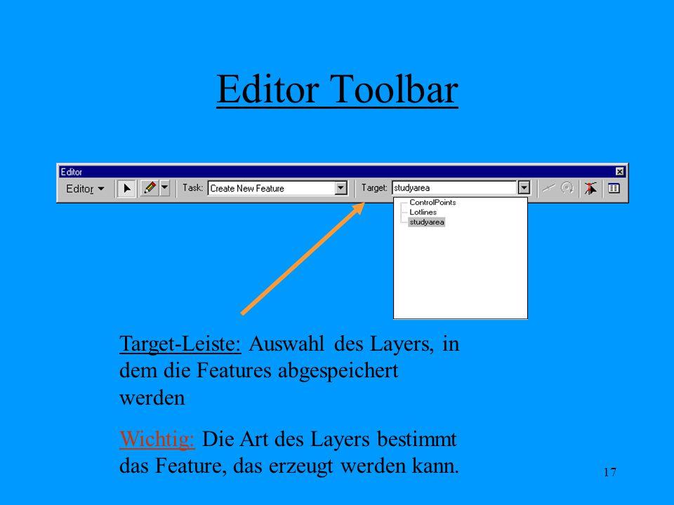 17 Editor Toolbar Target-Leiste: Auswahl des Layers, in dem die Features abgespeichert werden Wichtig: Die Art des Layers bestimmt das Feature, das erzeugt werden kann.