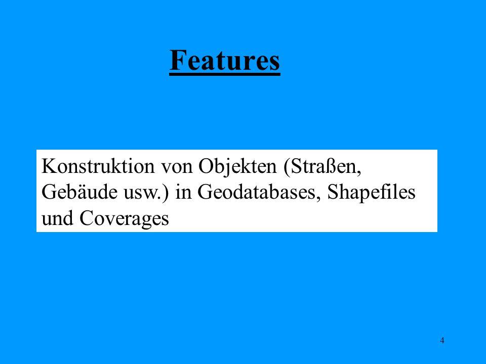 4 Konstruktion von Objekten (Straßen, Gebäude usw.) in Geodatabases, Shapefiles und Coverages Features