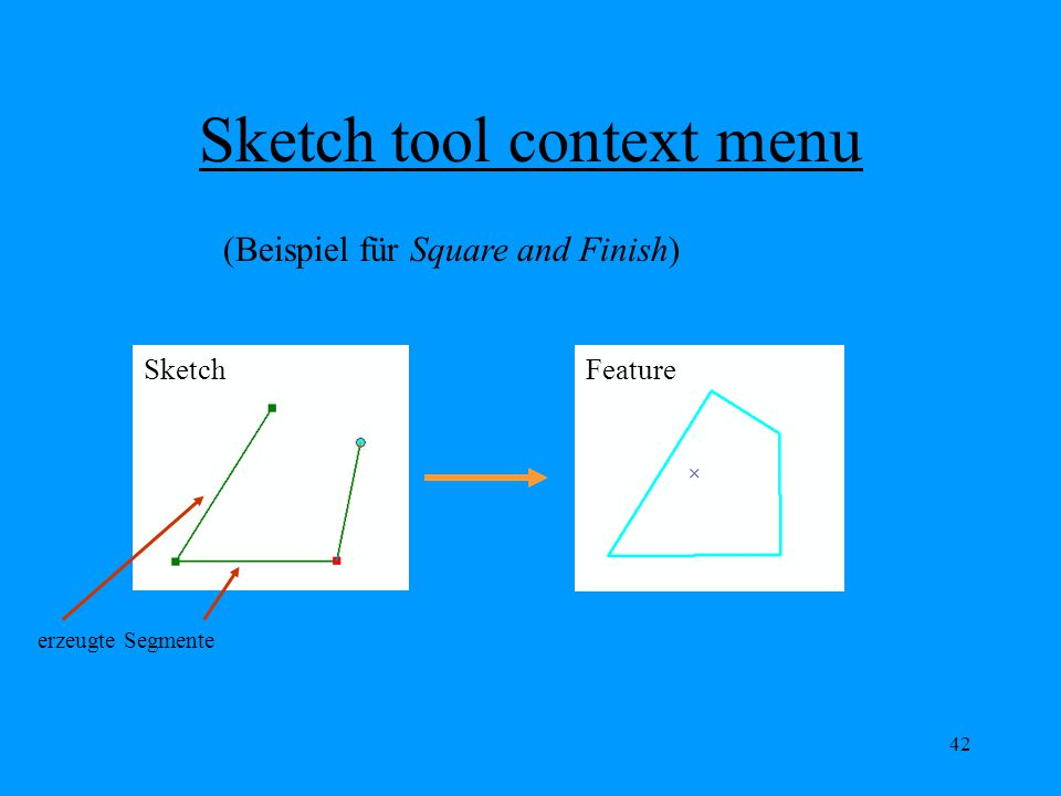 42 Sketch tool context menu (Beispiel für Square and Finish) erzeugte Segmente SketchFeature