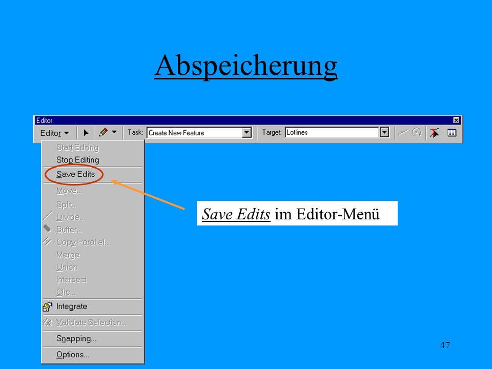 47 Abspeicherung Save Edits im Editor-Menü