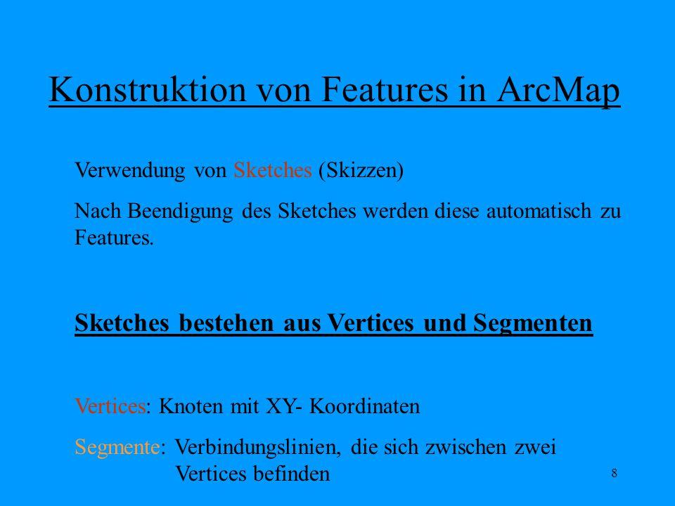 8 Konstruktion von Features in ArcMap Verwendung von Sketches (Skizzen) Nach Beendigung des Sketches werden diese automatisch zu Features.