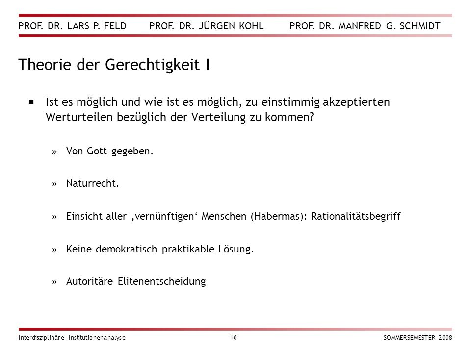 PROF. DR. LARS P. FELD PROF. DR. JÜRGEN KOHL PROF. DR. MANFRED G. SCHMIDT Interdisziplinäre Institutionenanalyse10SOMMERSEMESTER 2008 Theorie der Gere