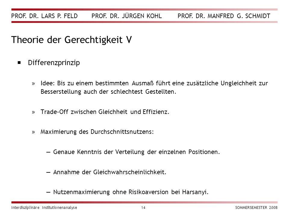 PROF. DR. LARS P. FELD PROF. DR. JÜRGEN KOHL PROF. DR. MANFRED G. SCHMIDT Interdisziplinäre Institutionenanalyse14SOMMERSEMESTER 2008 Theorie der Gere