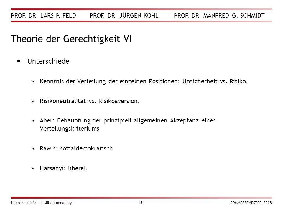 PROF. DR. LARS P. FELD PROF. DR. JÜRGEN KOHL PROF. DR. MANFRED G. SCHMIDT Interdisziplinäre Institutionenanalyse15SOMMERSEMESTER 2008 Theorie der Gere
