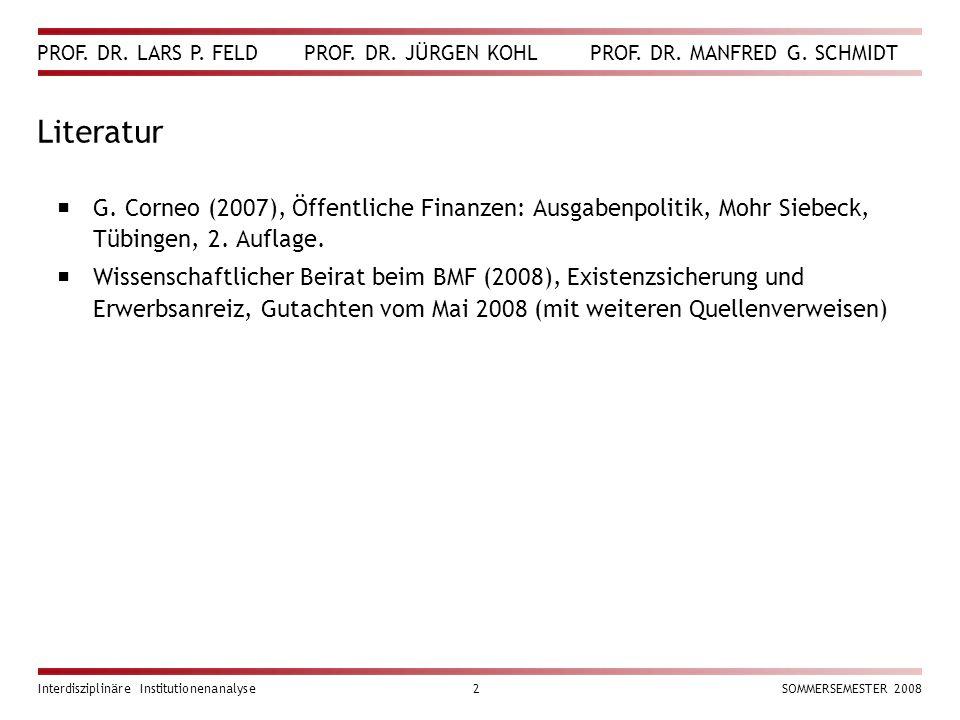 PROF. DR. LARS P. FELD PROF. DR. JÜRGEN KOHL PROF. DR. MANFRED G. SCHMIDT Interdisziplinäre Institutionenanalyse2SOMMERSEMESTER 2008 Literatur  G. Co