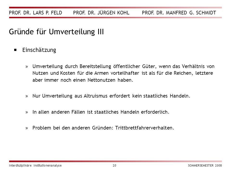 PROF. DR. LARS P. FELD PROF. DR. JÜRGEN KOHL PROF. DR. MANFRED G. SCHMIDT Interdisziplinäre Institutionenanalyse20SOMMERSEMESTER 2008 Gründe für Umver