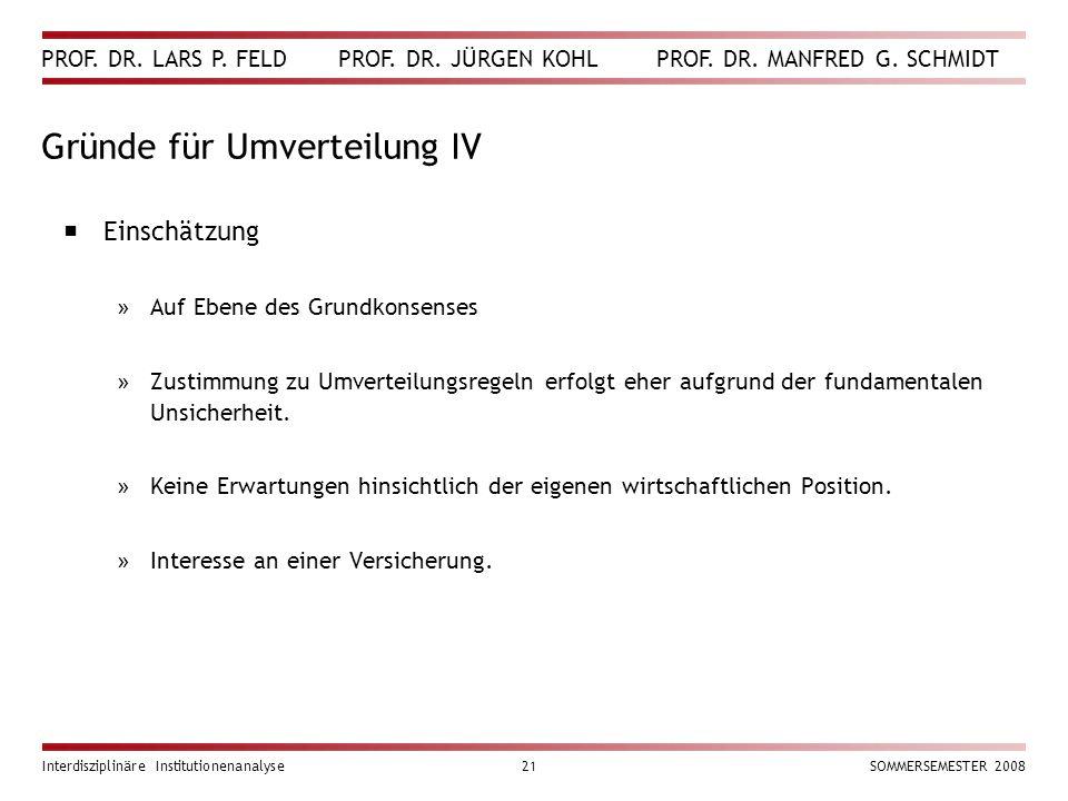 PROF. DR. LARS P. FELD PROF. DR. JÜRGEN KOHL PROF. DR. MANFRED G. SCHMIDT Interdisziplinäre Institutionenanalyse21SOMMERSEMESTER 2008 Gründe für Umver