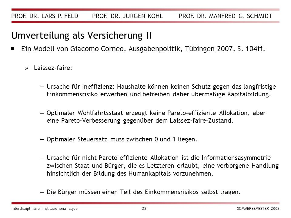 PROF. DR. LARS P. FELD PROF. DR. JÜRGEN KOHL PROF. DR. MANFRED G. SCHMIDT Interdisziplinäre Institutionenanalyse23SOMMERSEMESTER 2008 Umverteilung als