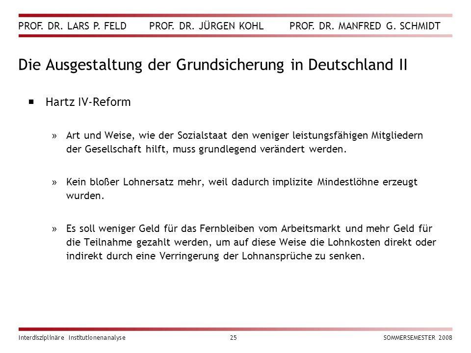 PROF. DR. LARS P. FELD PROF. DR. JÜRGEN KOHL PROF. DR. MANFRED G. SCHMIDT Interdisziplinäre Institutionenanalyse25SOMMERSEMESTER 2008 Die Ausgestaltun