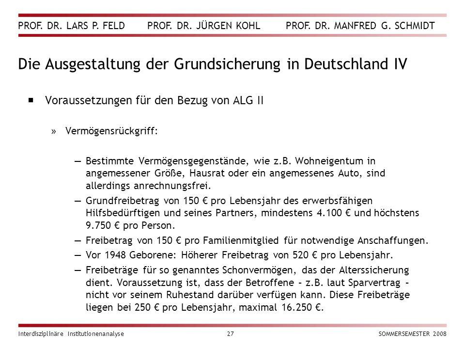 PROF. DR. LARS P. FELD PROF. DR. JÜRGEN KOHL PROF. DR. MANFRED G. SCHMIDT Interdisziplinäre Institutionenanalyse27SOMMERSEMESTER 2008 Die Ausgestaltun