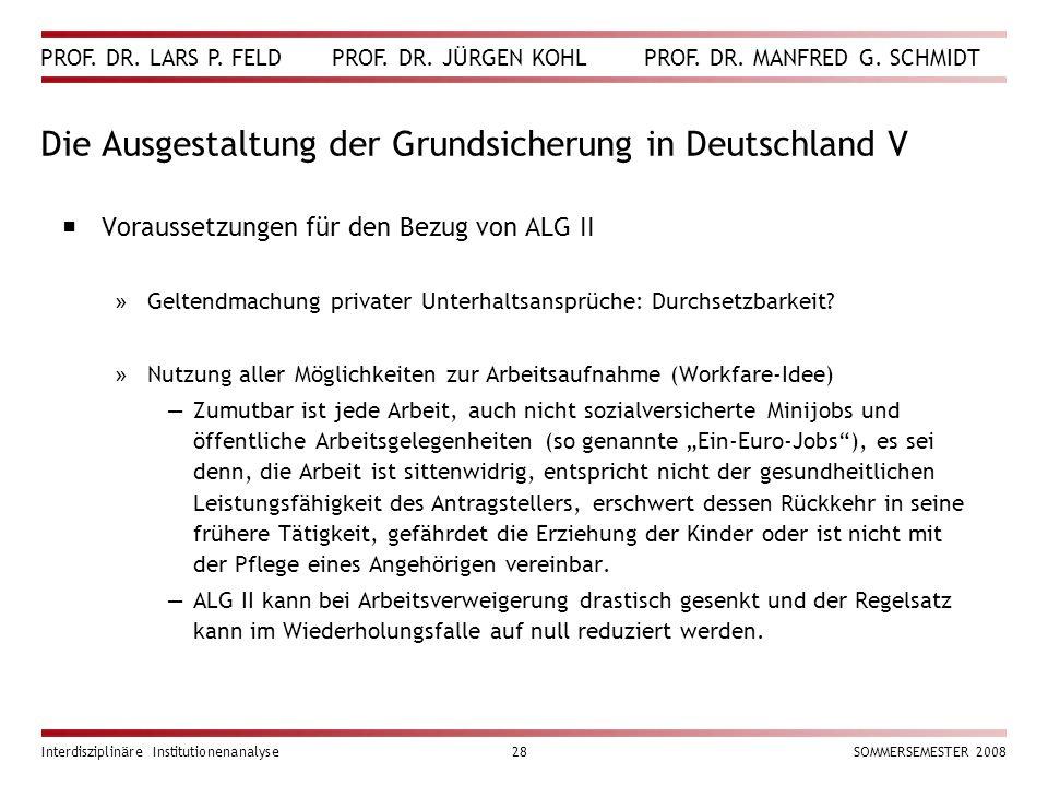 PROF. DR. LARS P. FELD PROF. DR. JÜRGEN KOHL PROF. DR. MANFRED G. SCHMIDT Interdisziplinäre Institutionenanalyse28SOMMERSEMESTER 2008 Die Ausgestaltun