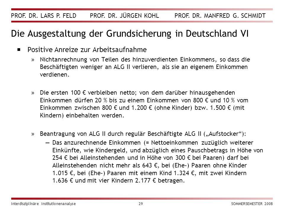 PROF. DR. LARS P. FELD PROF. DR. JÜRGEN KOHL PROF. DR. MANFRED G. SCHMIDT Interdisziplinäre Institutionenanalyse29SOMMERSEMESTER 2008 Die Ausgestaltun