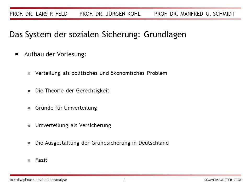 PROF. DR. LARS P. FELD PROF. DR. JÜRGEN KOHL PROF. DR. MANFRED G. SCHMIDT Interdisziplinäre Institutionenanalyse3SOMMERSEMESTER 2008 Das System der so