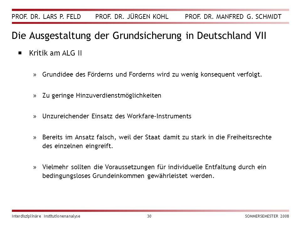PROF. DR. LARS P. FELD PROF. DR. JÜRGEN KOHL PROF. DR. MANFRED G. SCHMIDT Interdisziplinäre Institutionenanalyse30SOMMERSEMESTER 2008 Die Ausgestaltun