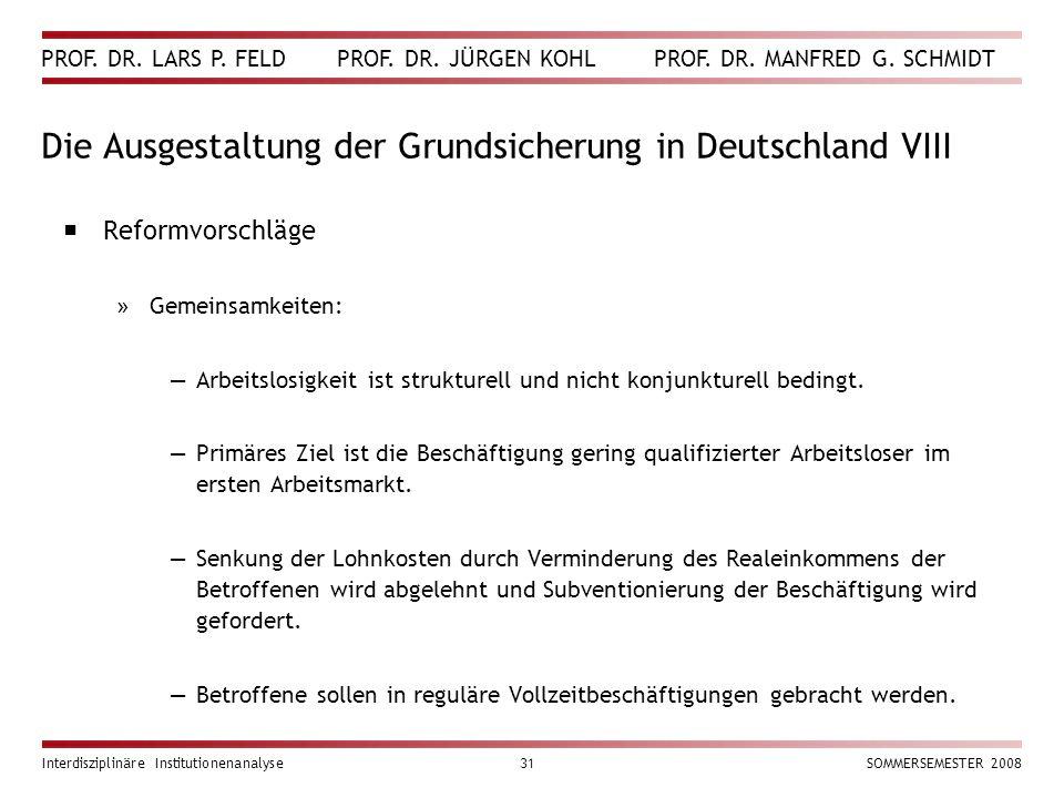 PROF. DR. LARS P. FELD PROF. DR. JÜRGEN KOHL PROF. DR. MANFRED G. SCHMIDT Interdisziplinäre Institutionenanalyse31SOMMERSEMESTER 2008 Die Ausgestaltun