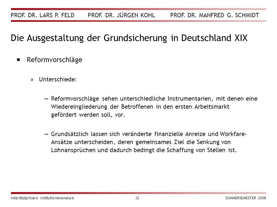 PROF. DR. LARS P. FELD PROF. DR. JÜRGEN KOHL PROF. DR. MANFRED G. SCHMIDT Interdisziplinäre Institutionenanalyse32SOMMERSEMESTER 2008 Die Ausgestaltun