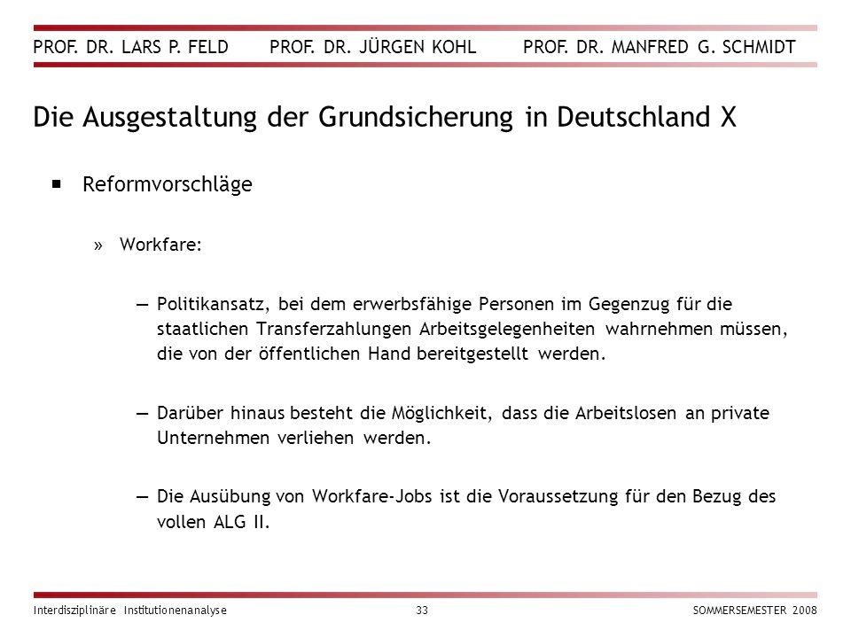 PROF. DR. LARS P. FELD PROF. DR. JÜRGEN KOHL PROF. DR. MANFRED G. SCHMIDT Interdisziplinäre Institutionenanalyse33SOMMERSEMESTER 2008 Die Ausgestaltun
