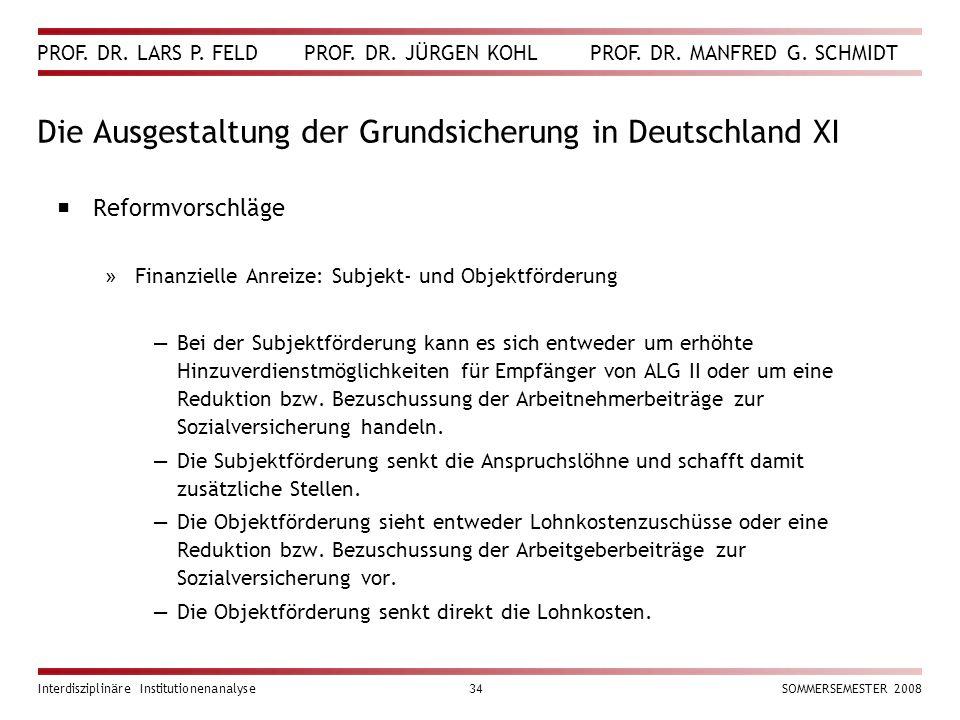 PROF. DR. LARS P. FELD PROF. DR. JÜRGEN KOHL PROF. DR. MANFRED G. SCHMIDT Interdisziplinäre Institutionenanalyse34SOMMERSEMESTER 2008 Die Ausgestaltun