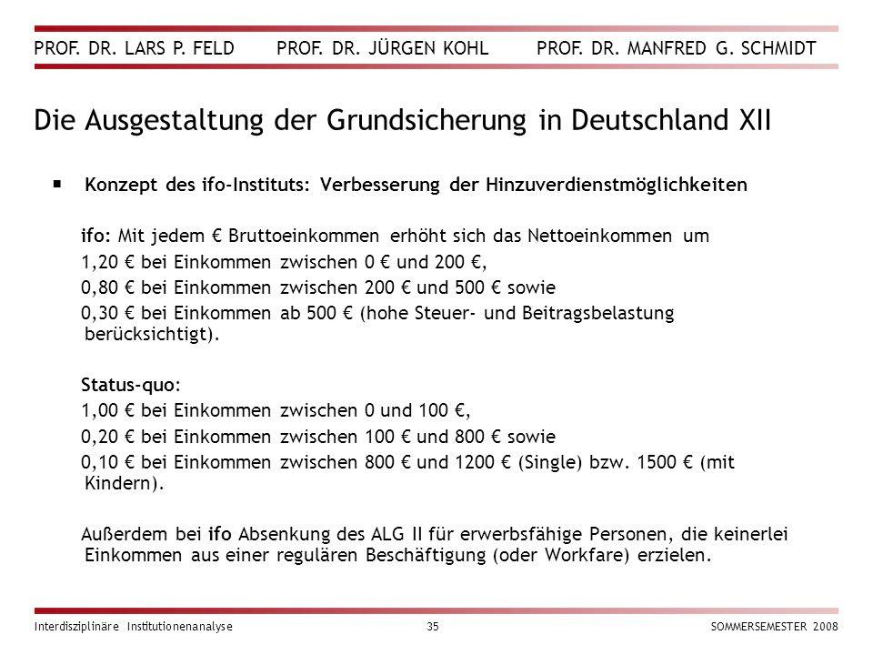 PROF. DR. LARS P. FELD PROF. DR. JÜRGEN KOHL PROF. DR. MANFRED G. SCHMIDT Interdisziplinäre Institutionenanalyse35SOMMERSEMESTER 2008 Die Ausgestaltun