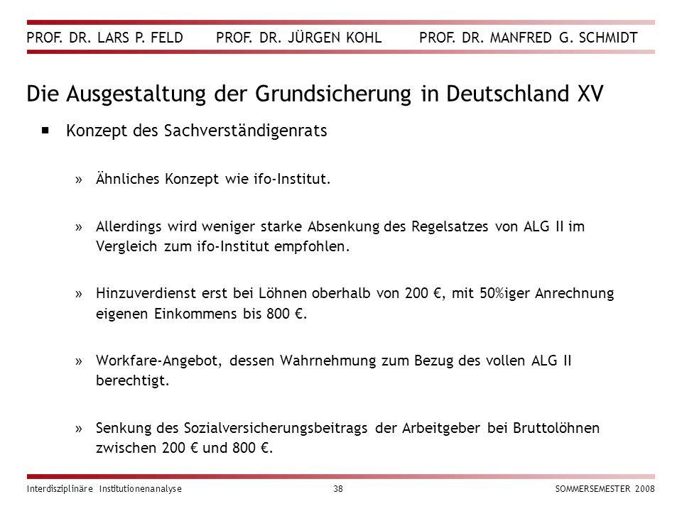 PROF. DR. LARS P. FELD PROF. DR. JÜRGEN KOHL PROF. DR. MANFRED G. SCHMIDT Interdisziplinäre Institutionenanalyse38SOMMERSEMESTER 2008 Die Ausgestaltun