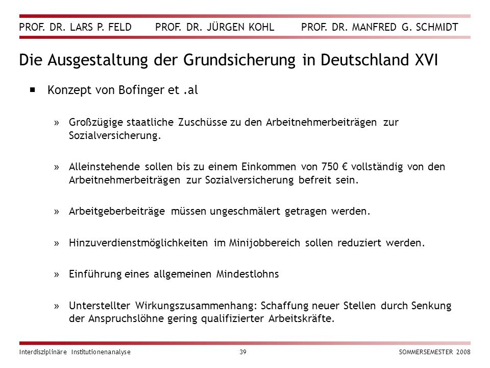 PROF. DR. LARS P. FELD PROF. DR. JÜRGEN KOHL PROF. DR. MANFRED G. SCHMIDT Interdisziplinäre Institutionenanalyse39SOMMERSEMESTER 2008 Die Ausgestaltun