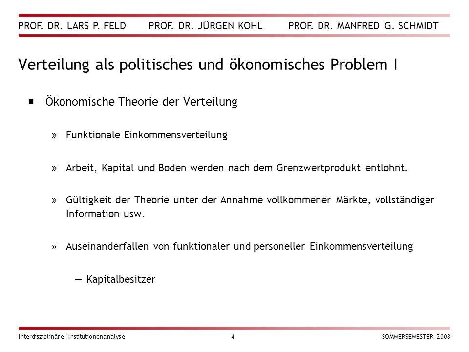 PROF. DR. LARS P. FELD PROF. DR. JÜRGEN KOHL PROF. DR. MANFRED G. SCHMIDT Interdisziplinäre Institutionenanalyse4SOMMERSEMESTER 2008 Verteilung als po