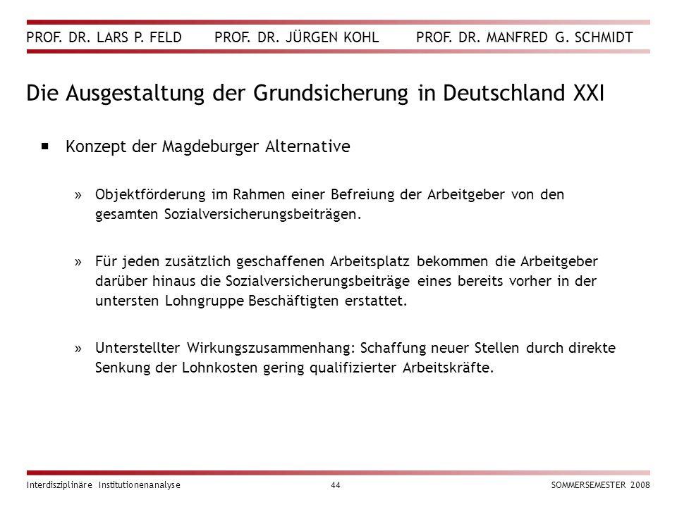PROF. DR. LARS P. FELD PROF. DR. JÜRGEN KOHL PROF. DR. MANFRED G. SCHMIDT Interdisziplinäre Institutionenanalyse44SOMMERSEMESTER 2008 Die Ausgestaltun