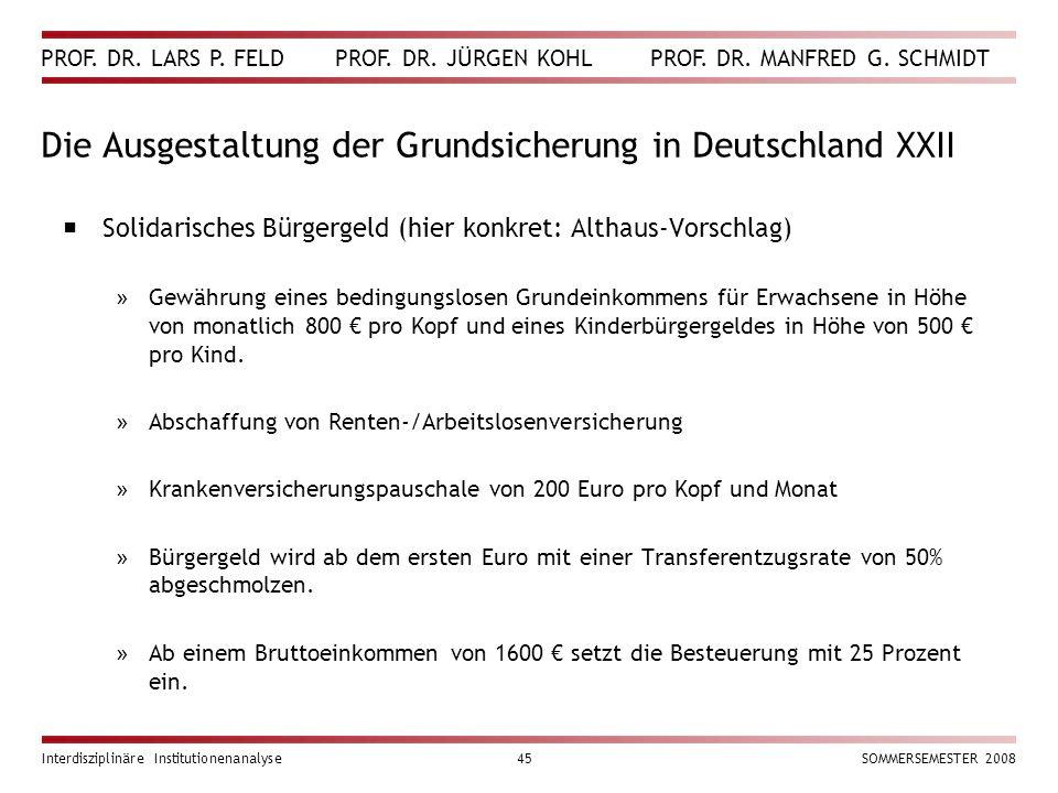 PROF. DR. LARS P. FELD PROF. DR. JÜRGEN KOHL PROF. DR. MANFRED G. SCHMIDT Interdisziplinäre Institutionenanalyse45SOMMERSEMESTER 2008 Die Ausgestaltun