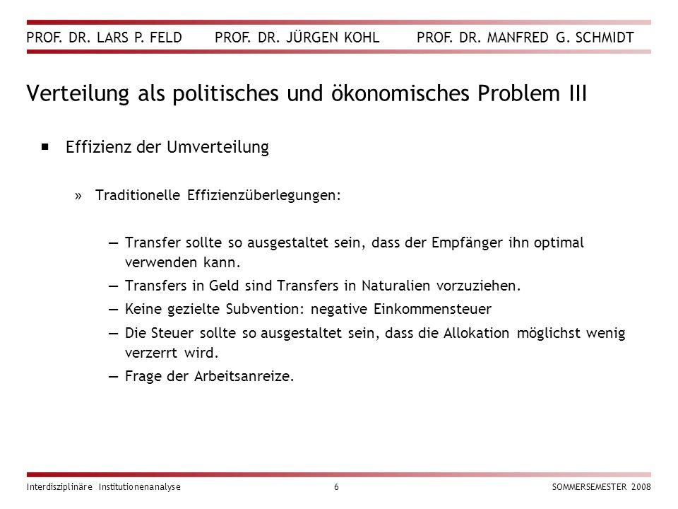 PROF. DR. LARS P. FELD PROF. DR. JÜRGEN KOHL PROF. DR. MANFRED G. SCHMIDT Interdisziplinäre Institutionenanalyse6SOMMERSEMESTER 2008 Verteilung als po