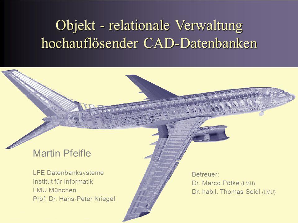 Martin Pfeifle, 26.07.01 Objekt - relationale Verwaltung hochauflösender CAD-Datenbanken Martin Pfeifle LFE Datenbanksysteme Institut für Informatik LMU München Prof.