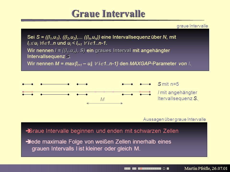 Martin Pfeifle, 26.07.01 Graue Intervalle graue Intervalle S mit n=5 I mit angehängter Itervallsequenz S.. M Sei S = ((l 1,u 1 ), ((l 2,u 2 ),... ((l