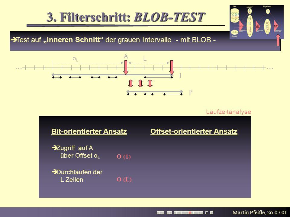 """Martin Pfeifle, 26.07.01 3. Filterschritt: BLOB-TEST  Test auf """"Inneren Schnitt"""" der grauen Intervalle - mit BLOB -... I' I Laufzeitanalyse Bit-orien"""