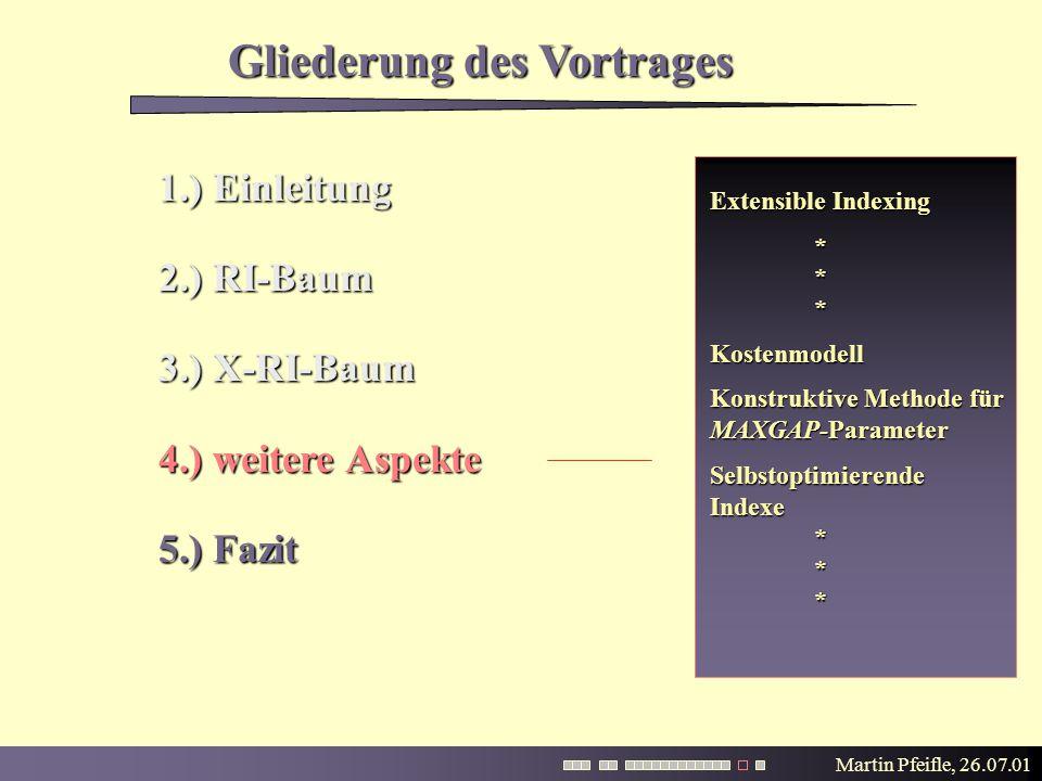 Martin Pfeifle, 26.07.01 Gliederung des Vortrages Extensible Indexing * **Kostenmodell Konstruktive Methode für MAXGAP-Parameter SelbstoptimierendeIndexe* ** 1.) Einleitung 2.) RI-Baum 3.) X-RI-Baum 4.) weitere Aspekte 5.) Fazit
