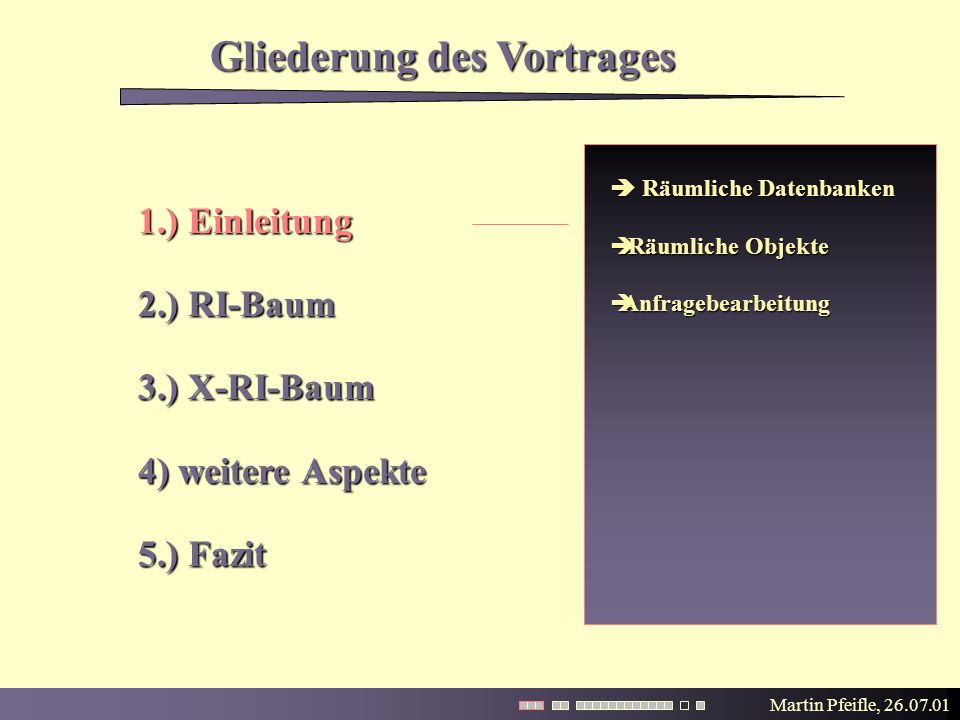 Martin Pfeifle, 26.07.01 Gliederung des Vortrages 1.) Einleitung 2.) RI-Baum 3.) X-RI-Baum 4) weitere Aspekte 5.) Fazit  Räumliche Datenbanken  Räumliche Objekte  Anfragebearbeitung
