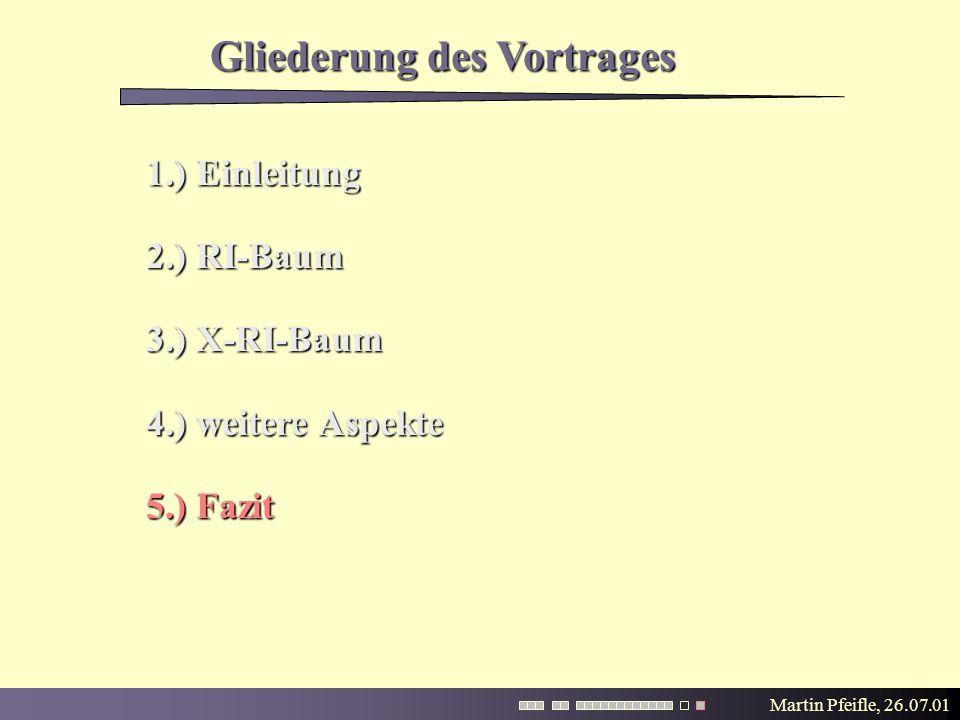 Martin Pfeifle, 26.07.01 Gliederung des Vortrages 1.) Einleitung 2.) RI-Baum 3.) X-RI-Baum 4.) weitere Aspekte 5.) Fazit